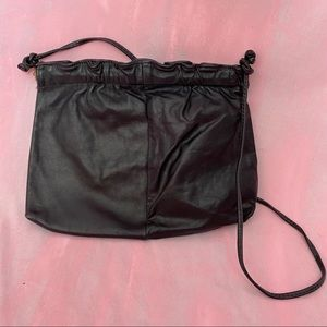 VINTAGE 1990s Black Soft Leather Ruffle Clutch